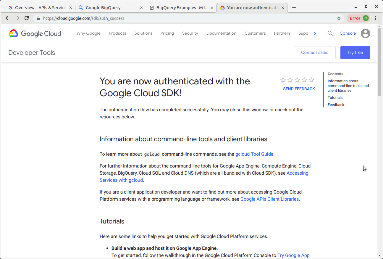 Google Cloud SDK - successfully authenticated